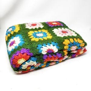 Vintage Acrylic Hand Crocheted Granny Afghan Throw